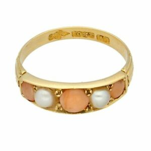 Antique 18Carat Yellow Gold Coral & Pearl Eternity Ring (Size O) 5mm Wide