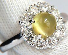 2.95ct natural cabochon chrysoberyl cats eye diamonds ring 14kt $7000