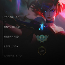 League of Legends Account 20000+ BE IP LOL Smurf Acc EUW Level 30+ Unranked 20k+