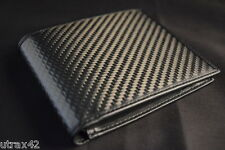 REAL CARBON FIBER & GENUINE LEATHER BIFOLD WALLET W/ PHOTO ID FLAP - FORMULA 1