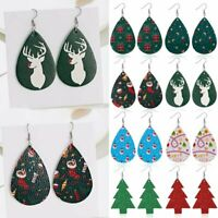 Christmas Elk Tree Teardrop Leather Hook Earrings Ear Drop Dangle Xmas Gifts