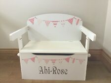 Kids Toy Box Personalised Converts To A Desk Pink Bunting Design (RRP £125)