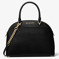 Michael Kors Emmy Large Cindy Dome Satchel Bag Black Saffiano