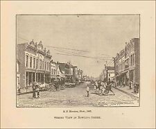 Bowling Green, Ohio, Street View, Antique Engraving, Print, Matted, 1904