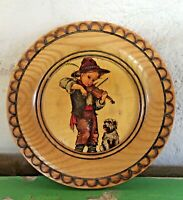 """Vintage Wood Plate/Plaque Boy With Violin & Dog, Wall Hanging 6 3/8"""" Diameter"""