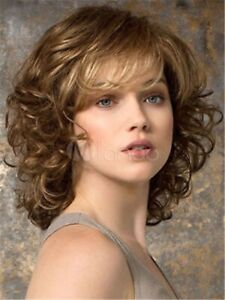 Fashion Womens wig Curly wavy Dark Brown mix Shoulder Length Ladies Wigs+wig cap