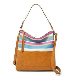 Fossil Multicolor Stripes Brown Amelia Hobo Shoulder Bag Messenger SHB2605425