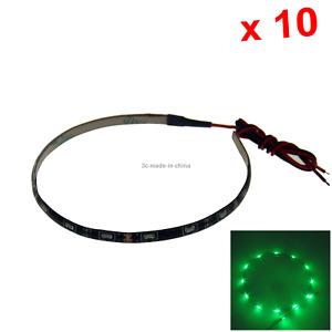 10x Green Flexible Strip Light 30CM 1FT 12' Waterproof 15 Side Glow LED M006