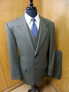 Jeffrey Banks Mens Suit w/ Vest  42L 34 X 32 Olive Gray 3-PIECE  L-#55