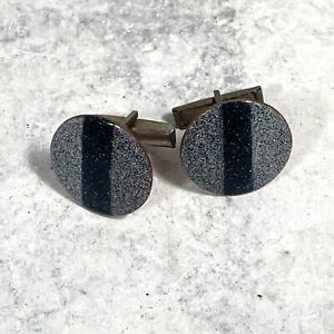 1960s Enameled Copper Grey Stripe Cuff Links