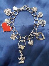 "7"" Love Heart Dangles Angel Charm Rodium Silver Alloy Bracelet Fashion Jewellery"