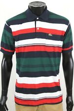 Vintage Chemise Lacoste Mens Multi Color Stripe SS Mesh Polo Shirt Size Large