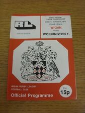 04/03/1979 Rugby League Programme: Wigan v Workington Town
