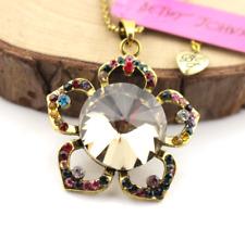 Jewelry Betsey Johnson Charm Pendant Rhinestone Retro crystal Flowers necklace