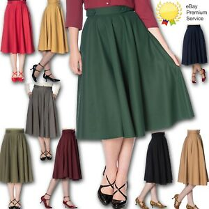 New Banned Apparel Retro 50s Di Di Swing Skirt In 9 Glorious Colours Size 6-20