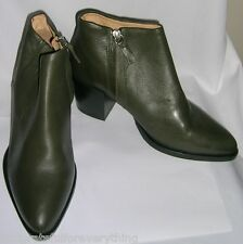 TOPSHOP MERIBEL 100 % REAL LEATHER DARK GREEN ANKLE BOOTS UK SIZE 5 E 38 US 7