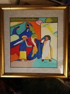 "ORIGINAL Acrylic FRAMED ABSTRACT PAINTING Art '""KANDINSKY AFRICA"" by M Burt"