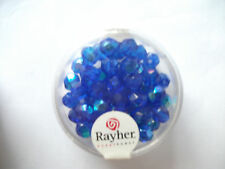 Rayher Glas - Schliffperlen 50 Stück 6 mm irisierend saphir Bastelperlen