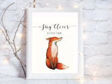 stay clever little fox quote glossy Print poster a4 paint splat nursery UNFRAMED