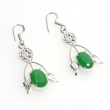 Handmade Earring T906 Green Emerald Onyx Gemstone