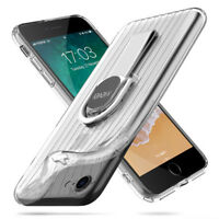For iPhone X 8 7 Plus Metal Finger Ring Holder Stand Silica Gel Phone Case Cover