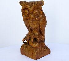 """14.5"""" Superb Antique German Black Forest Oak Wood Carving Wise Owl c1900"""