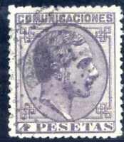 Sellos de España 1878 nº 198 4 pesetas  Alfonso XII matasellado Spain