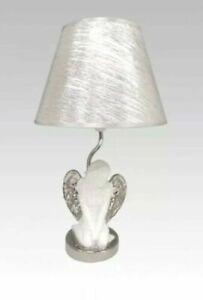 Elegant 48cm White And Chrome Angel Table Lamp With Silver Shade Decor GIFT
