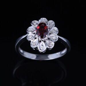 14K White Gold Oval Garnet Diamonds Jewelry Gorgeous Engagement Jewelry Ring