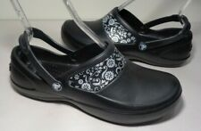 Crocs Size 11 MERCY WORK Black Silver Clogs Loafers New Womens Shoes