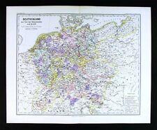1880 Spruner Map Medieval Germany c. 1273 Hohenstaufen Era Swabia Dynasty Europe