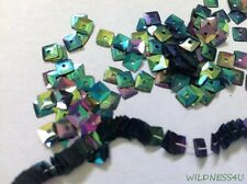 VINTAGE METALLIC SEQUINS Square Faceted Iridescent green FRENCH Paillettes lot