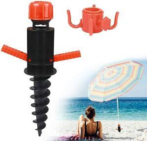 Pied Porte-parasol Support à vis Douille de sol 22-32 mm Camping Plage Gris