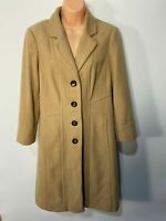 WOMENS MARKS & SPENCER UK 12 CAMEL LONG BUTTON UP WOOL CASHMERE WINTER OVERCOAT
