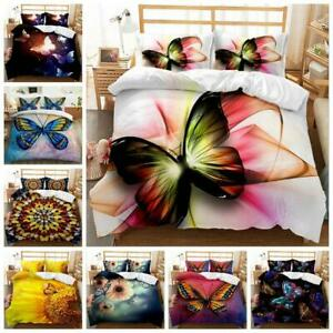 AU Size Butterfly 3D Printing Doona Duvet Cover Bedding Set Double Queen King