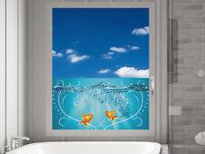 Fensterfolie Sichtschutzfolie Badezimmer Fische Wasser Herz blau blickdicht