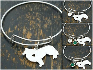 Border Collie Bracelet Initial Letter Birthstone Silver Dog Charm Personalized