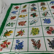 Vintage Linen Cotton Tea Towel Tablecloth by Heil Australian Wildflowers 31 x 36