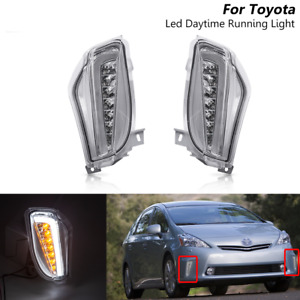Clear Led Switchback DRL Turn Signal Driving Lights For Toyota Prius V 2012-2015