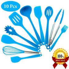 10 Pcs Silicone Kitchen Cooking Utensils Set Non-Stick Spoon Turner Baking Tools