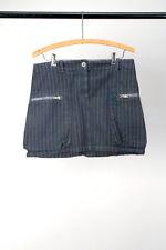 Katayone Adeli - Blue Stripe Cotton Mini Skirt Zipper Pockets 6 S / Goth Punk