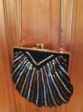 Valerie Stevens Shell Beaded Evening Bag,Black gold bronze Small w/ chain strap