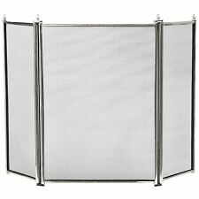 Large Pewter 3 Fold Fire Guard / Fire Screen / Spark Guard