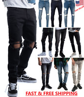 Men's Slim Fit Jeans Skinny Fit Distressed Stretch Denim Ripped Skinny Jeans