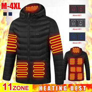 Heated jacket winter coat 11 areas heating winter cycling USB charge