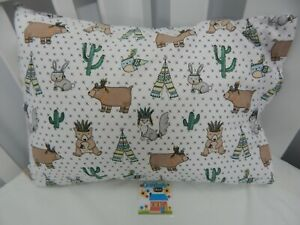 Pillowcase Flannelette Cot Toddler Size Woodland Prairie 100% Cotton Snug & Warm