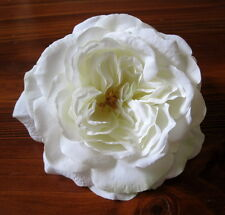"Full 6"" White Rose Silk Flower Hair Clip,Pin Up,Updo,Bridal,Rockabilly,Hat"