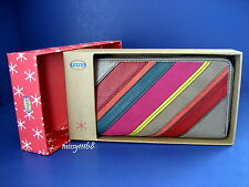 NWT Fossil Perfect Patchwork Clutch Stripe Leather Zip Around Wallet in Box