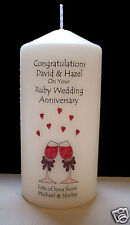 personalised ruby 40th wedding anniversary candle gift for couple, mum & dad etc