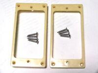 2 cream curved humbucker pickup surrounds rings +chrome screws ring LP guitar